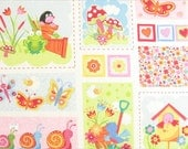 "Clearance FABRIC Last Panel From ENGLAND Garden Friends Children's Print 29"" long piece"