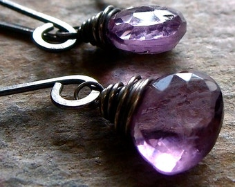 Amethyst Sterling Silver Briolette Earrings