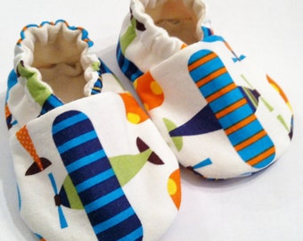 ORGANIC Cotton Baby Shoes, Ready, Set, Go Airplanes - White or Blue Background