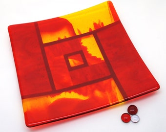 Red Orange Yellow Fused Glass Art Plate, Home Decor