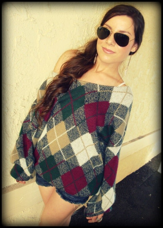 LOVE Hippie Vintage Chunky 80's Off-The-Shoulder Argyle Sweater Top Jumper