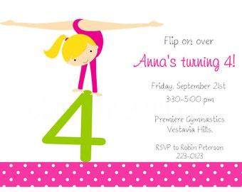 Blonde Girls Flip on Over Gymnastics Printable Invitation