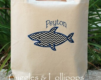 Girls or  boys personalized canvas tote bag with whale flower girl ring bearer gift chevron fabric