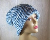 Blue and White Knit Hat