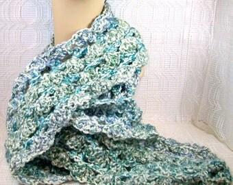 Winter Scarf / Women's Scarf / Crochet Scarf / Neck Scarf / Neck Warmer / Lady's Scarf / Blue Scarf / Long Scarf