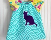 Kitty Dress. Cat Dress. Baby Girl Dress. Peasant Dress. Size 12 months. Baby Girl Gift. Toddler Girl Dress. Short Sleeve Dress.