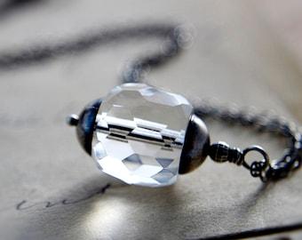 Glass Necklace Silver Crystal Modern Minimalist Pendant Simplistic PoleStar
