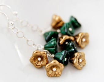 Bronze and Forest Green Flower Bouquet Earrings Dangle