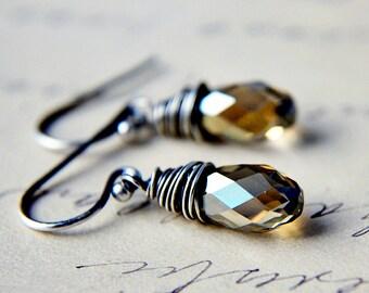 Crystal Earrings, Swarovski Earrings, Swarovski Crystal, sterling silver, drop earrings, dangle earrings, polestar jewelry, mocha, coffee