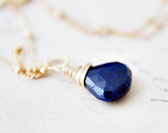 Sapphire Necklace Gemstone September Gold Pendant