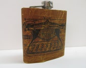 leather flask - hip flask - typewriter - handmade leather flask - writers flask