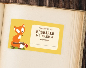 PRINTABLE Custom Fox Bookplate
