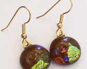Dichroic earrings - brown and gold with multicolor sparkles // dichro earrings // chocolate brown // fused glass earrings