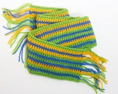 Wool Alpaca Scarf,  Crocheted Striped Scarf, Wool,  Warm, Spring Colors, Ready to Ship