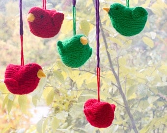 Red Green Bird Ornaments, Christmas Tree Ornament,  Knit Holiday Ornaments, Bird Holiday Decor, Stuffed Toy