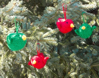 Bird Christmas Ornaments,  Knit Holiday Tree Ornaments, Stuffed Animal, Stocking Stuffer, Red, Green