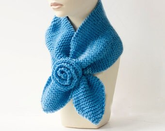 Cornflower Blue Keyhole Scarf,  Flower Neck Warmer, Self Tying Scarf, Vegan Stay in Place Scarf