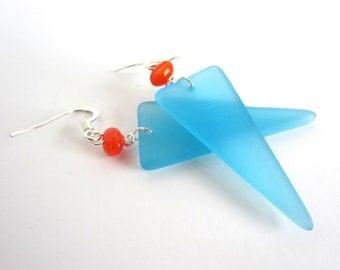 Sky Blue Sea Glass Geometric Triangle Earrings