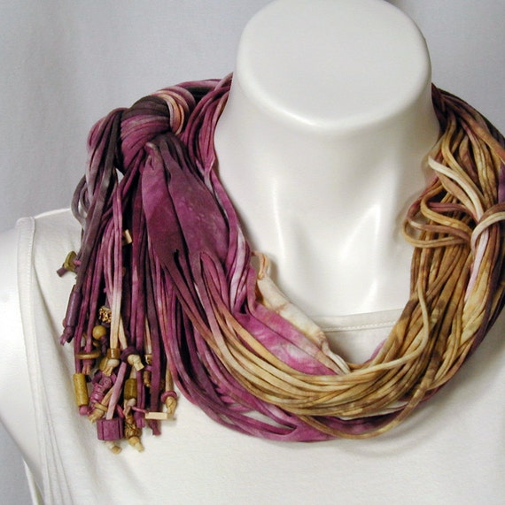 The Soba Scarf in Roses, Maize, and Mahogany