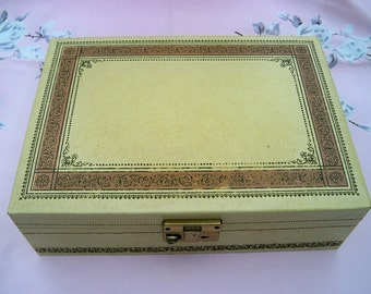 SALE! Vintage 1960s Ladies Golden Jewelry Box with Rose Lining