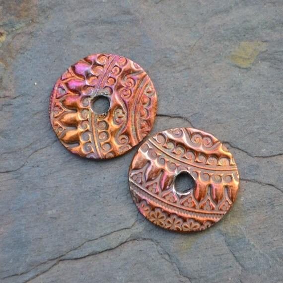 Handmade Copper Tapestry Discs (1 pair)