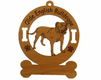 3627 Olde English Bulldogge Standing Personalized Dog Ornament