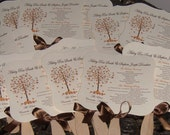 Fall Wedding Fans with Program - set of 100 FALL TREE