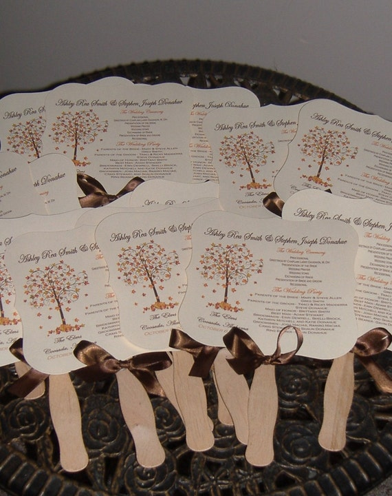 Wedding Fans with Program - set of 50 FALL TREE