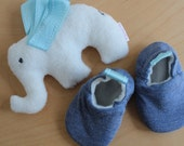 Baby elephant toy and slipper set - blue grosgrain