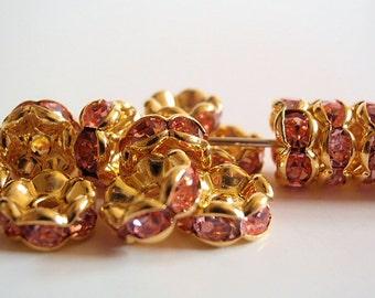 8 Grade AAA Pink Rhinestone Rondelle Spacer Beads, Jewelry making Bead Supply, Gold Plated Brass , Wavy Edge, 8mm Diameter