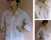 Bugging Out Vintage 1970s Embroidered Insect Blouse
