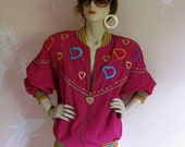 Crazy Hearts Vintage 1980s Gold and Diamond Glam Jacket
