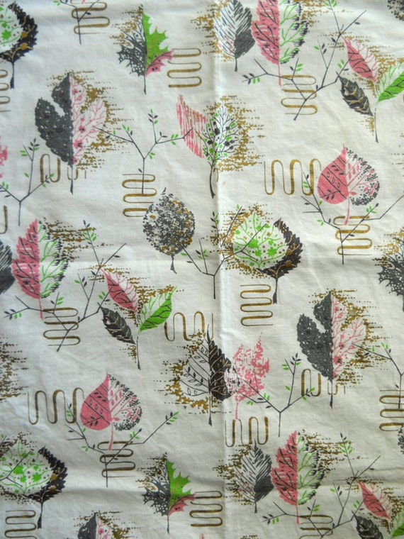 Vintage fabric tablecloth topper Mid Century leaves pink and green feedsack fabric