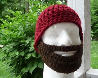Instant Download Digital File PATTERN Adult Crochet Beard Hat Pattern