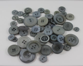 50 Silver Grey Buttons-Buy 3, Get 1 FREE