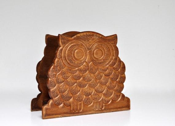Vintage-Owl-Wood-Napkin-Holder-Brown-Free Shipping