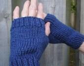 Dark Blue Wrist Warmers, Fingerless Gloves, Hand Warmers