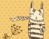 Greeting card - Flowers & Cat