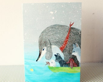 Greeting card - Dogs & ball