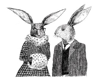 Winter rabbit couple card - romantic love, valentine's day or wedding black and white card, blank with envelope