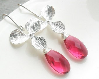 SALE Ruby Red Quartz Sterling Orchid Earring