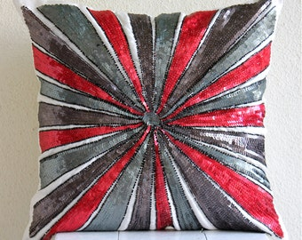 "Luxury Red Throw Pillows Cover, 16""x16"" Silk Pillow Covers, Square  Sequins Pinwheel Sparkly Glitter Pillows Cover - Red Bullseye"