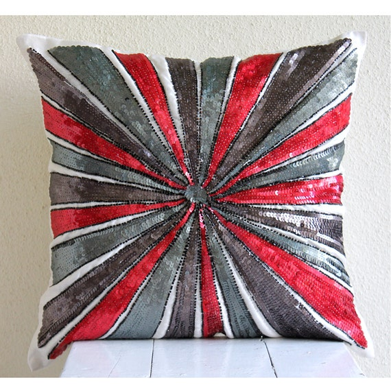 "Luxury Sequins Pinwheel Sparkly Glitter Pillows Cover, Red Throw Pillows Cover Silk Pillow Covers, Square  20""x20"" - Red Bullseye"