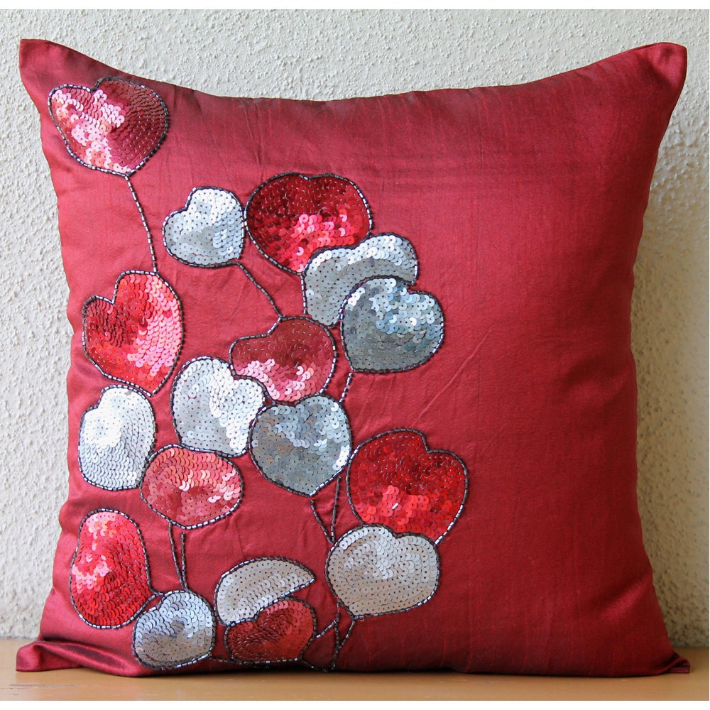 Decorative Pillows Homemade : Handmade Red Decorative Pillow Cover Sequins Heart Pillows