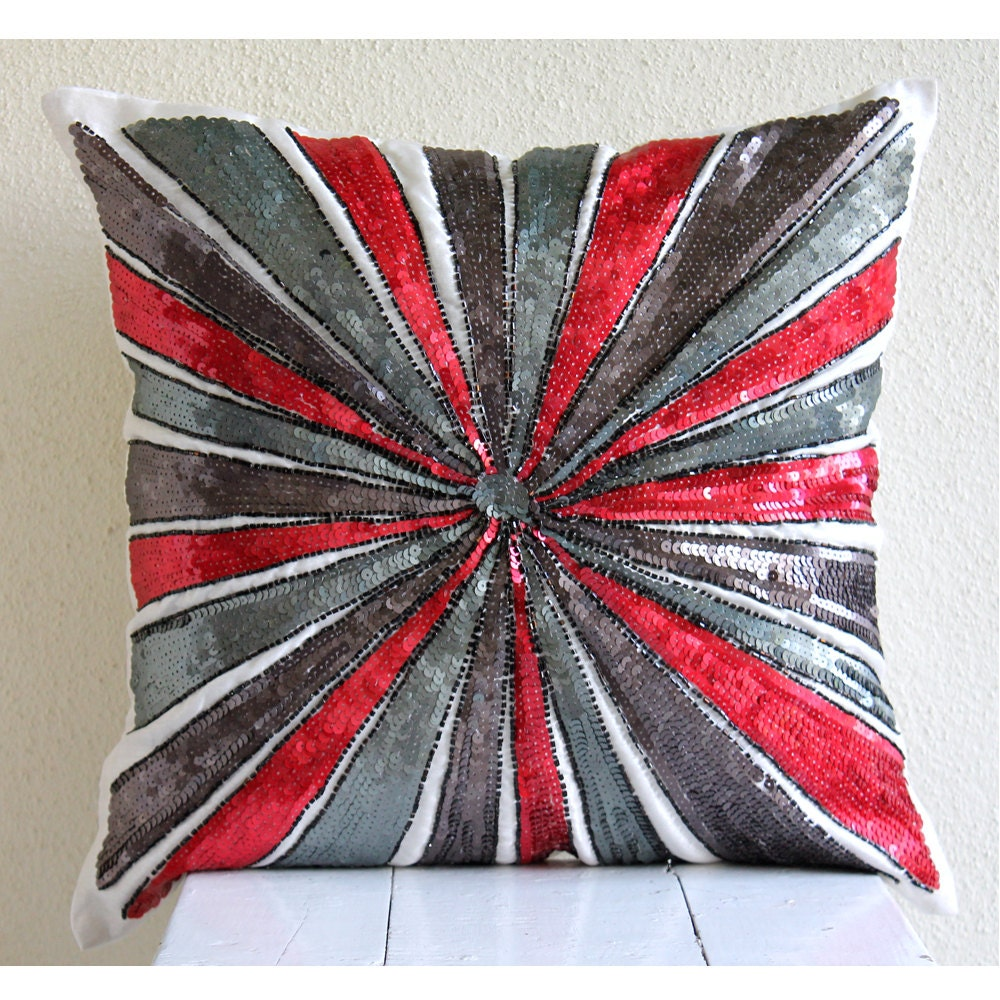 Luxury Red Throw Pillows Cover 16x16 Silk Pillow By TheHomeCentric
