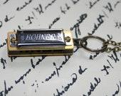 Brass Hohner Harmonica Necklace