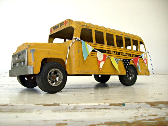 Hubley Toy School Bus, Diecast Metal, Vintage 1960's, With a Handmade Fabric BanneR