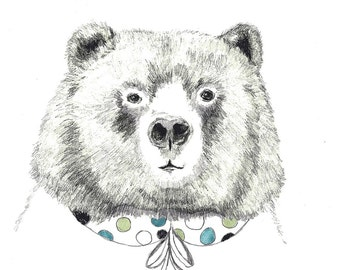 Mrs. Bear - Bear Illustration - Bear with Peter Pan Collar