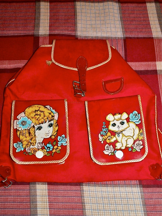 Vintage Showa Era 60s Retro Girl n Dog Macoto Style Anime Kinder Backpack Bag Purse in Red Used
