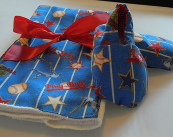 Baby Burp Cloth and Sho Baseball Gift Set  SALE Allstars Eco friendly shoes Cotton  0 to 6 months READY to ship